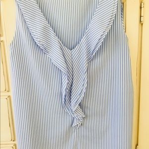 Ann Taylor Tops - Sleeveless striped top with cascading ruffle